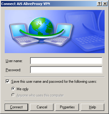 Enter your User name and password. Click Connect.